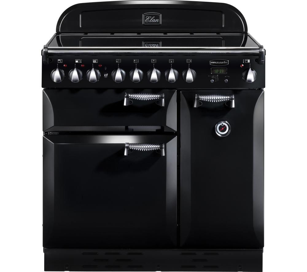RANGEMASTER Elan 90 Electric Ceramic Range Cooker - Black & Chrome, Black