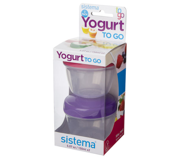 SISTEMA 35 ml Yoghurt To Go Pot - Twin Pack, Pink