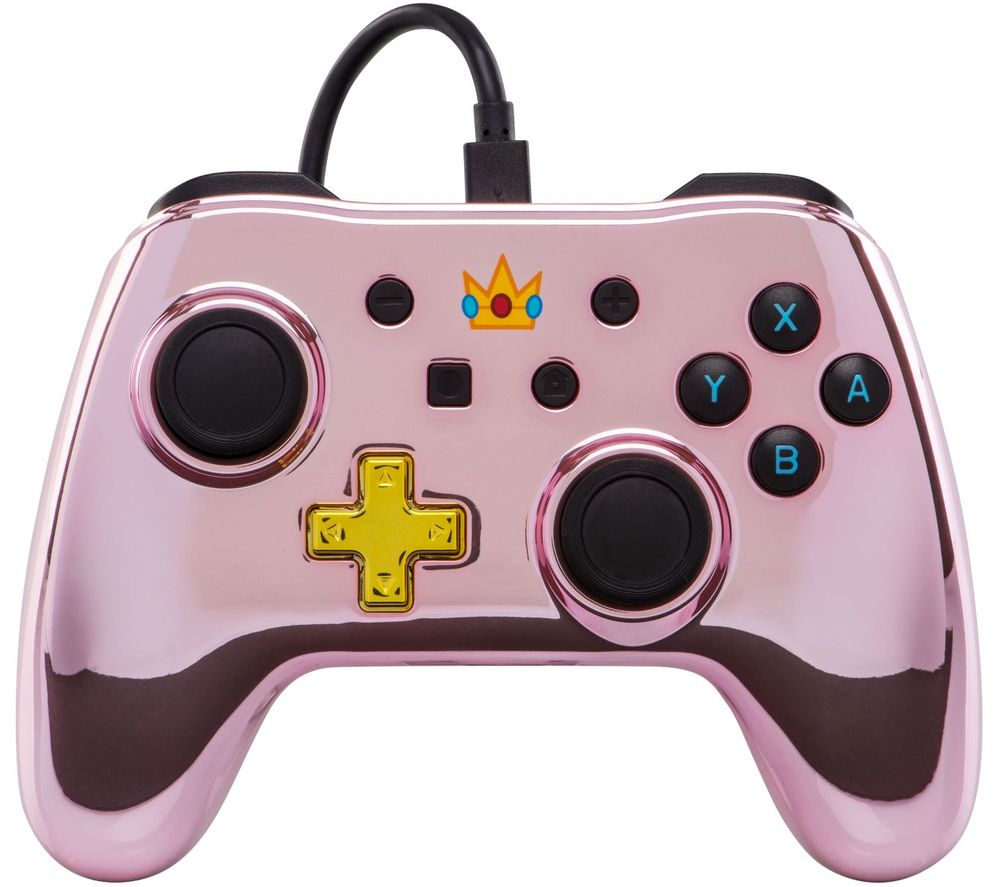 POWERA Nintendo Switch Wired Controller - Pink Chrome Princess Peach, Pink