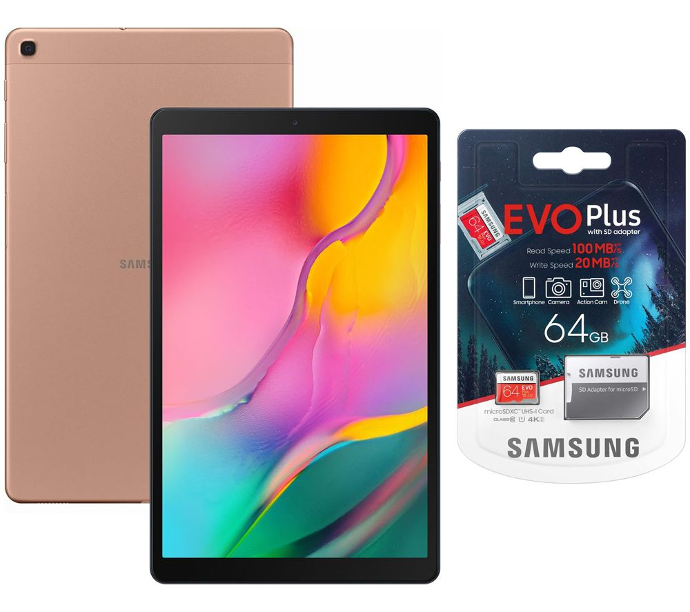 "SAMSUNG Galaxy Tab A 10.1"" Tablet (2019) & Evo Plus 64 GB microSD Memory Card Bundle - 32 GB, Gold, Gold"
