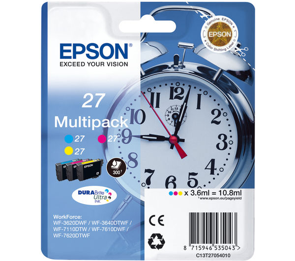 EPSON Alarm Clock 27 Cyan, Magenta & Yellow Ink Cartridges - Multipack, Cyan