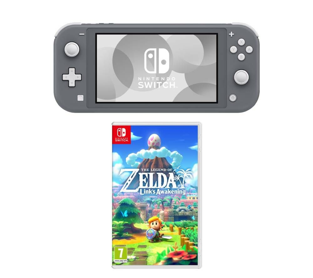 Nintendo Switch Lite & The Legend of Zelda Links Awakening Bundle - Grey, Grey