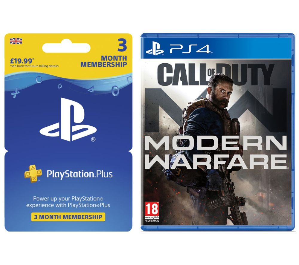 PS4 Call of Duty: Modern Warfare (2019) & PlayStation Plus 3 Month Subscription Bundle