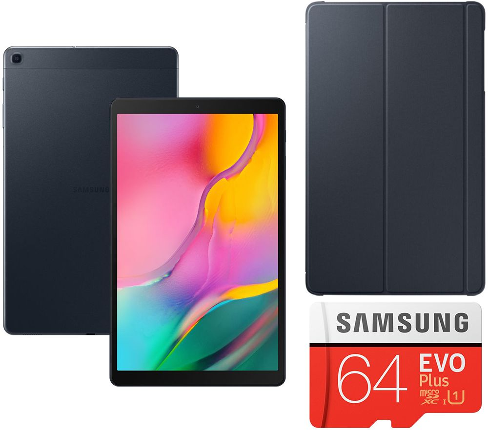"SAMSUNG Galaxy Tab A 10.1"" Tablet (2019), Evo Plus 64 GB microSD Memory Card & Book Cover Bundle - 32 GB, Black, Black"
