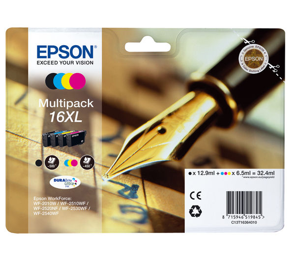EPSON Pen & Crossword T1636 XL Cyan, Magenta, Yellow & Black Ink Cartridge - Multipack, Cyan