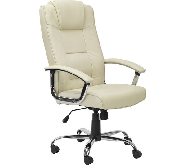 ALPHASON Houston Leather Reclining Executive Chair - Cream, Cream