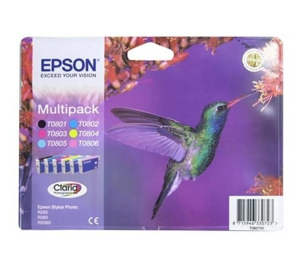 EPSON Hummingbird T0807 6-colour Ink Cartridges - Multipack, Cyan