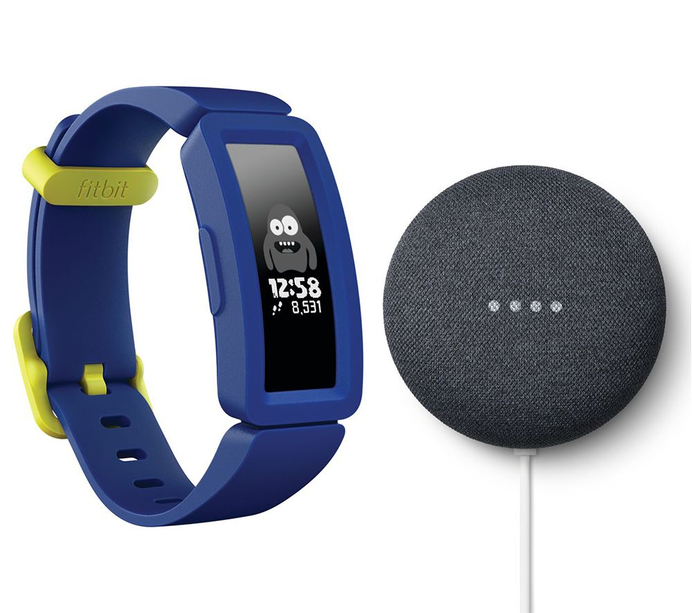 FITBIT Ace 2 Kid's Fitness Tracker & Nest Mini (2nd Gen) Charcoal Bundle - Blue & Yellow, Charcoal