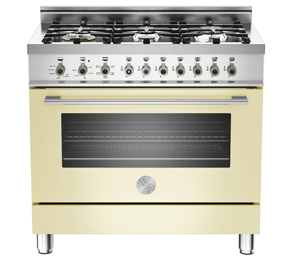 BERTAZZONI Professional 90 X906DUALCR Dual Fuel Range Cooker - Cream & Stainless steel, Stainless Steel