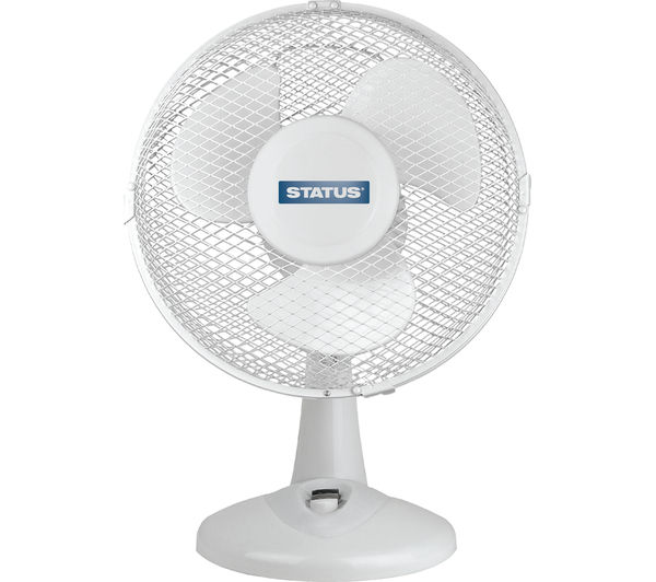 "STATUS 9"" Desk Fan - White, White"