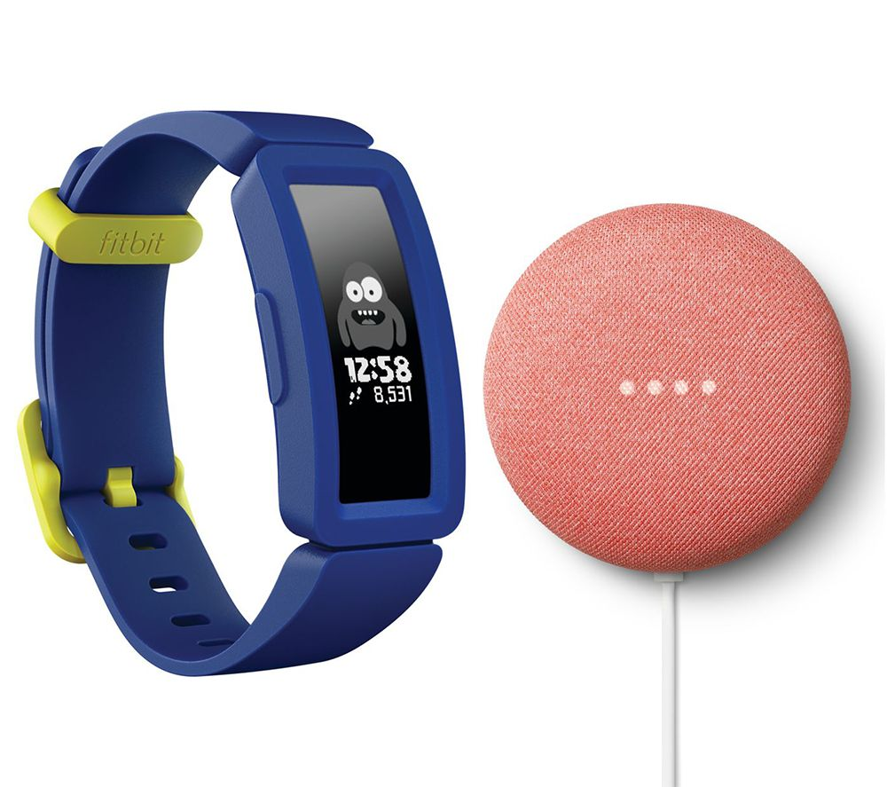 FITBIT Ace 2 Kid's Fitness Tracker & Nest Mini (2nd Gen) Coral Bundle - Blue & Yellow, Coral
