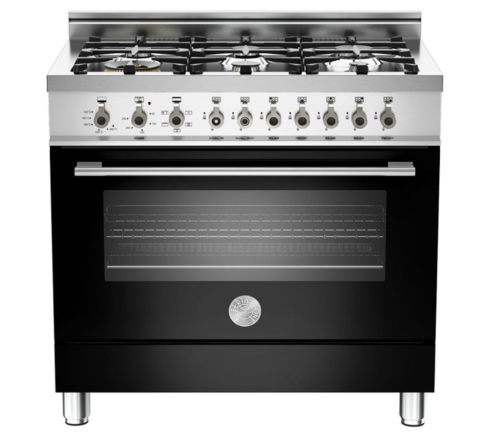 BERTAZZONI Professional 90 X906DUALNE Dual Fuel Range Cooker - Black & Stainless Steel, Stainless Steel