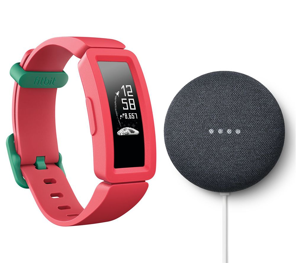 FITBIT Ace 2 Kid's Fitness Tracker & Nest Mini (2nd Gen) Charcoal Bundle - Watermelon & Teal, Charcoal
