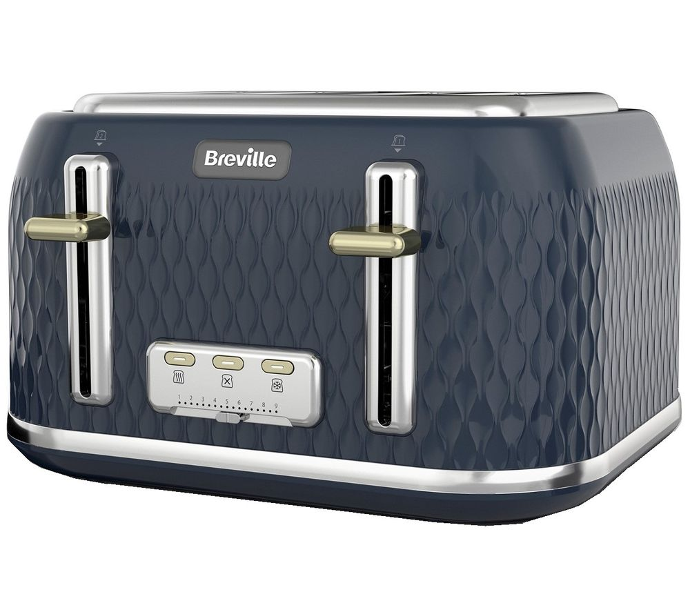 BREVILLE Curve VTT965 4-Slice Toaster - Gold & Navy Blue, Gold