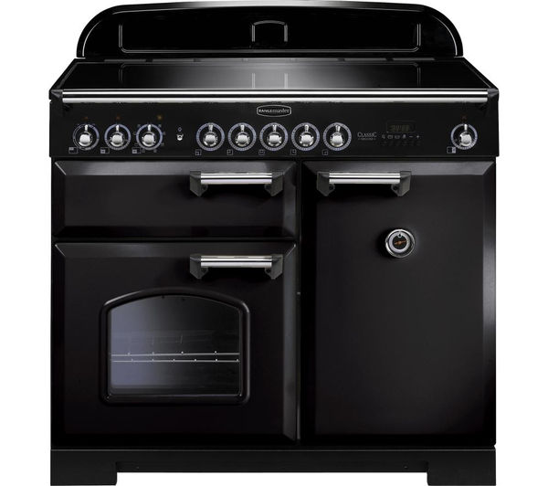 RANGEMASTER Classic Deluxe 100 Electric Induction Range Cooker - Black & Chrome, Black